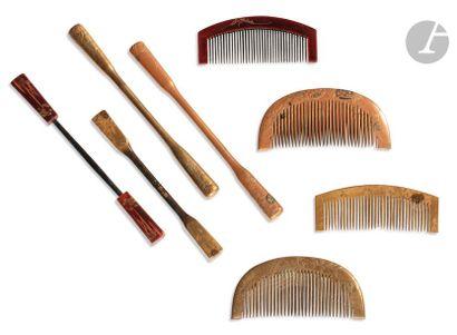 JAPON - Début XXe siècle Ensemble comprenant quatre Kushi et leurs quatre épingles...