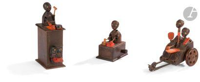 JAPON - Fin XIXe siècle Karakuri-ningyô, ensemble de groupes de trois jouets articulés...