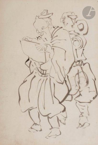Ensemble de trois dessins à l'encre noire,...