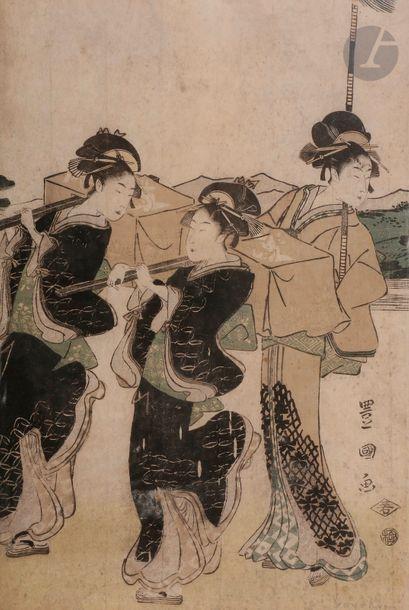 Toyokuni I (1769 - 1825) Oban yoko-e, pentaptyque,...