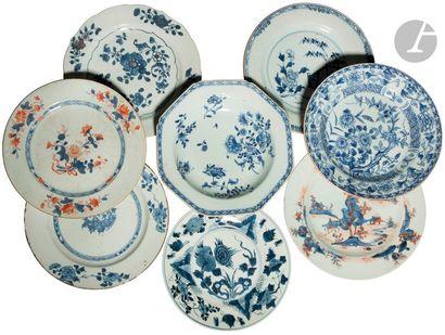 CHINE - XVIIIe siècle Ensemble de huit assiettes...