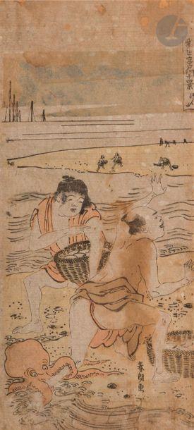 Deux oban tate-e, l'un par Shuncho (1726...