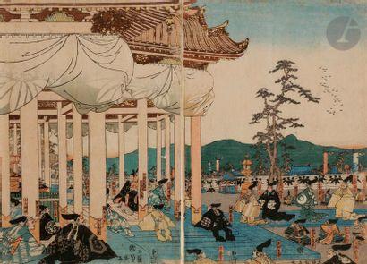 Ensemble comprenant un hashira-e par Utamaro,...