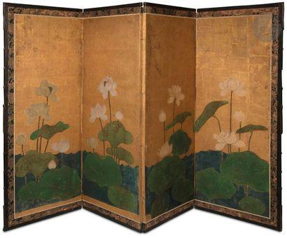 JAPON - Milieu Époque EDO (1603 - 1868) Paravent...