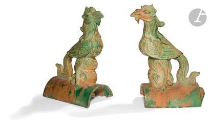 CHINE - époque MING (1368 - 1644) Paire de...