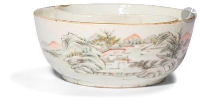 CHINE - XIXe siècle Coupe ronde à deux compartiments...