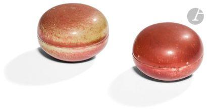 CHINE - XIXe siècle Deux petites boîtes rondes...
