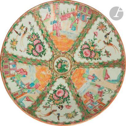 CHINE, Canton - XIXe siècle Plat rond en...