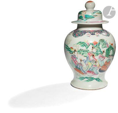 CHINE - Fin XIXe siècle Potiche couverte...