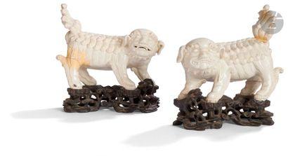 INDOCHINE - Vers 1900 Paire de statuette...