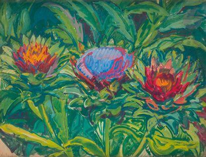 *Nicolas Alexandrovitch TARKHOFF (1871-1930) Fleurs d'artichauts dans le jardin...