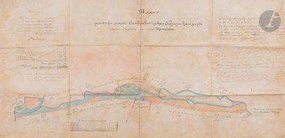 Plan cadastral sur soie, 1896 Plan d'une...
