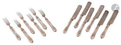Ensemble de 6 fourchettes et 6 couteaux en...
