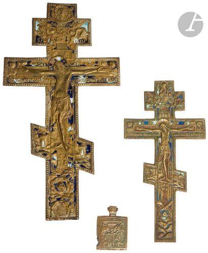Ensemble de 4 croix et icônes en bronze,...