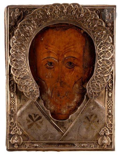 Icône de Saint Nicolas Oklad en vermeil....