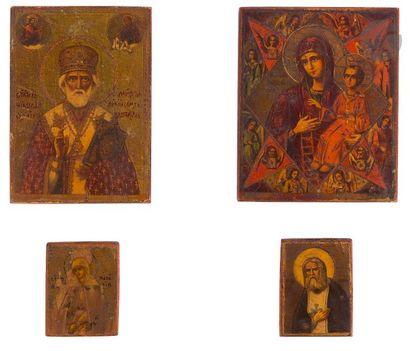 Quatre petites icônes 1) La Vierge du Buisson...