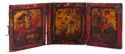 Triptyque en bois, Grèce, XIXe siècle Le...