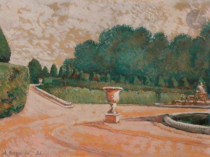 Alexis Konstantinovitch KOROVINE (1897-1950) Vue d'un parc, 1936 Gouache sur papier....