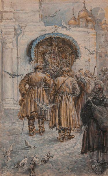 Henri LANOS (1859-1929) Pèlerins devant une...