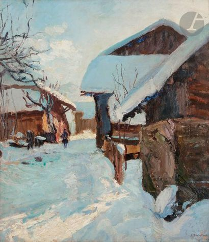 Alfred SWIEYKOWSKI (1869-1953) Village sous...