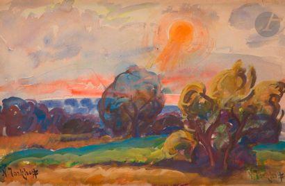 *Nicolas Alexandrovitch TARKHOFF (1871-1930) Couché de soleil sur la campagne d'Orsay,...