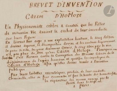 [MANUSCRIT]. Brevet d'invention. Caisse d'Horloge....