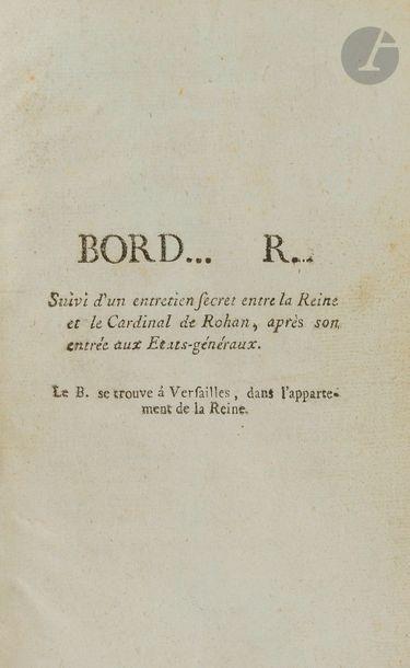 [MARIE-ANTOINETTE]. Bord… R… (Bordel Royal)...