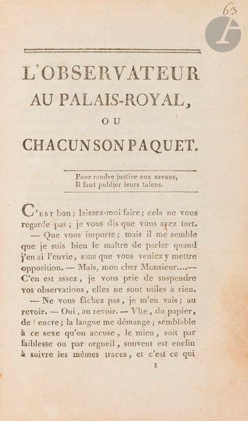 L'OBSERVATEUR AU PALAIS ROYAL, OU CHACUN...