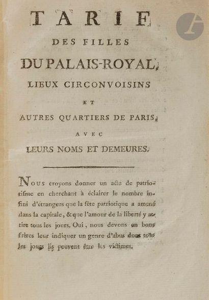 TARIF DES FILLES DU PALAIS-ROYAL, lieux circonvoisins...