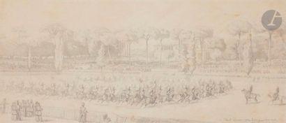 Gustave BOULANGER (1824-1888) Le 11e régiment de dragons au carrousel, Rome 1853...