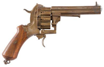 Fort revolver à broche système Lefaucheux, deux coups, calibre 7 mm Bloc de deux...