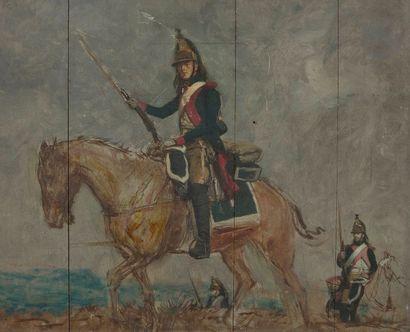 École française vers 1870, entourage d'Édouard DETAILLE Officiers du deuxième régiment...