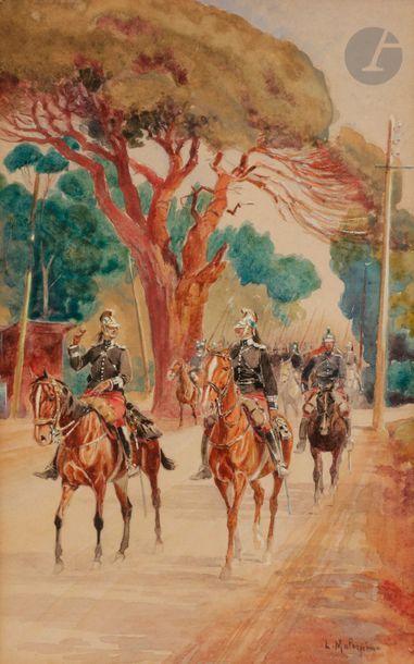 Louis-Ferdinand MALESPINA (1874-1940) Régiment de dragon en campagne, IIIeRépublique...