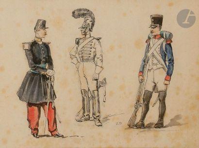 Édouard DETAILLE, attribué à Études de fantassins et de carabiniers d'époque Premier...