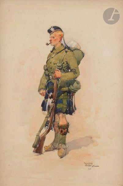 Raymond DENDEVILLE (1901-1968) Soldat écossais,...