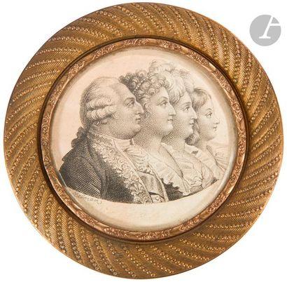 BOSSELMAN, d'après La Famille royale : Louis XVI et sa famille Gravure. Dans un...