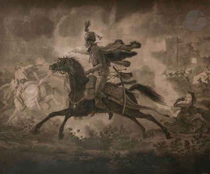 Carle VERNET, d'après Sortie d'un officier de hussard français, époque révolutionnaire...