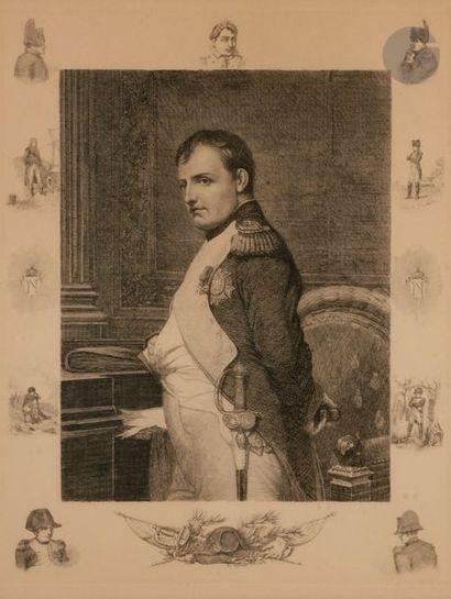 DELAROCHE, d'après L'Empereur Napoléon Ier dans son cabinet de travail Gravure 58...