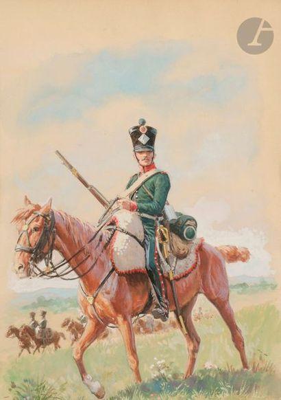 Lucien ROUSSELOT (1900-1992) Chasseur à cheval...