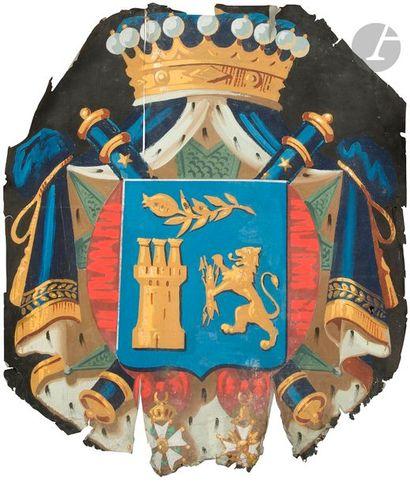 Ensemble de trois papiers peints aux grandes armes du maréchal Sylvain Valée. Un...