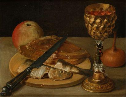 Georg FLEGEL (Olmütz 1566- Francfort 1638) Nature morte au hareng et pokal Panneau...
