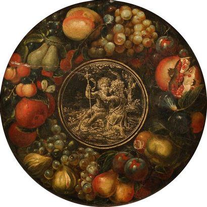 École ROMAINE vers 1620 Couronne de fruits...