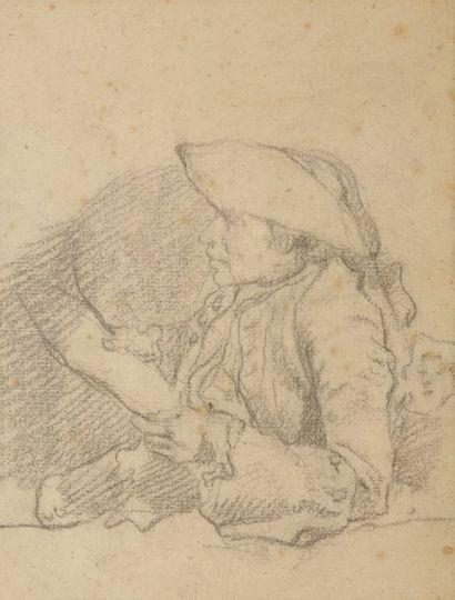Attribué à Etienne JEAURAT (Vermenton 1699 - Versailles 1789) Feuille d'étude recto-verso...