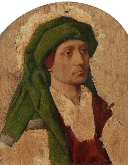 École BOURGUIGNONNE du milieu du XVe siècle Portrait d'homme au turban vert Panneau...