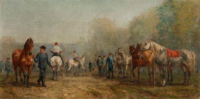 John Lewis BROWN  (Bordeaux 1829- Paris 1892)  Avant la course  Toile  23,2 x 46...