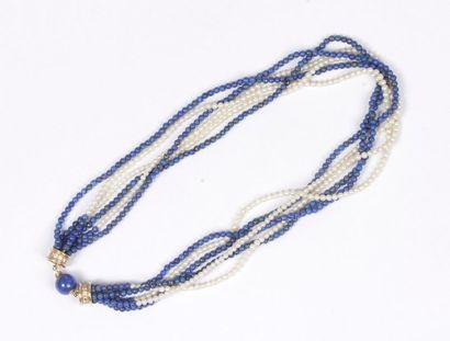 Collier multirangs de perles de culture et...