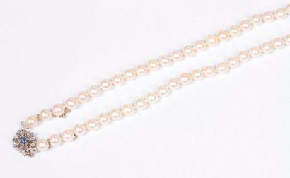 Collier de perles de culture, fermoir fleur...