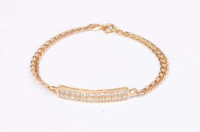 Bracelet gourmette en or 18K (750), orné...