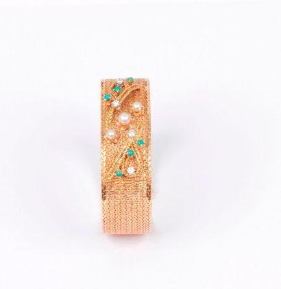 Bracelet ruban en or 18K (750) satiné, orné...