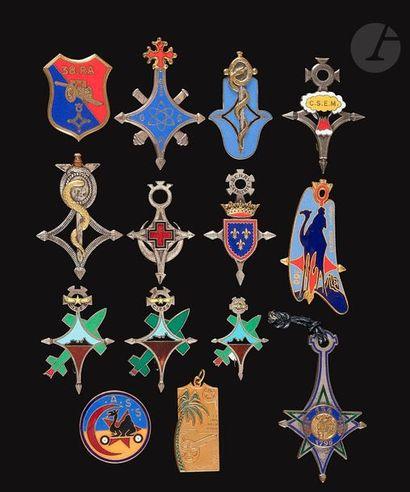 14 insignes Sahariens - 134e BI numéroté,...